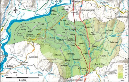 Mapa físico concello de Valga