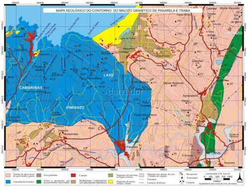 Mapa xeolóxico do Macizo Pasarela e Traba