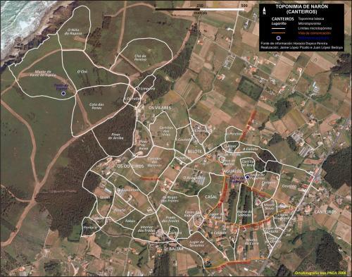Mapa toponímico de Canteiros (Naron)