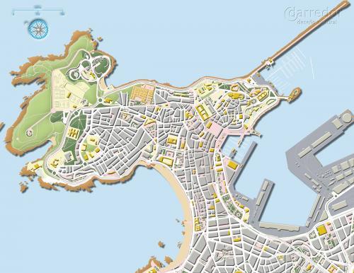 Plano da cidade da Coruña