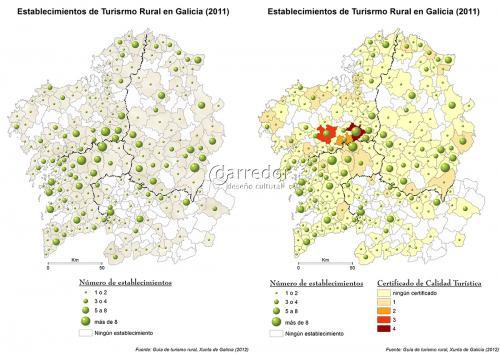 Mapas de establecementos de turismo rural en Galicia