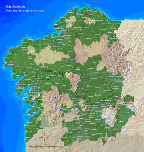 Mapa dos principais traballos e proxectos en Galicia
