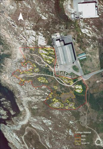 Teselas de vexetación nas proximidades da EDAR do Couso (Ribeira)