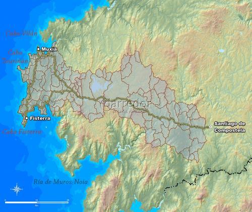 Unidades de paisaxe no Camiño de Santiago a Muxía e Fisterra