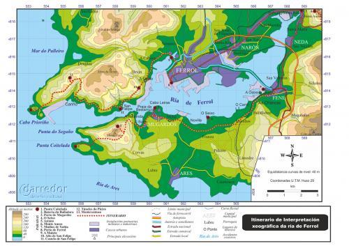 Itinerario de interpretación Ría de Ferrol. Mapa de ruta