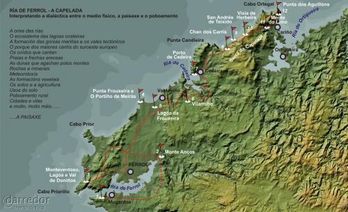 Itinerario Ferrol-A Capelada. Mapa de ruta