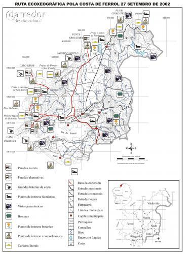 Ruta ecoxeográfica costa de Ferrol. Mapa de ruta