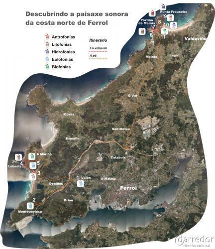 Ruta Paisaxe sonora costa de Ferrol. Mapa de ruta